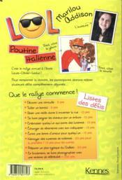 LOL T.2 ; poutine italienne - 4ème de couverture - Format classique
