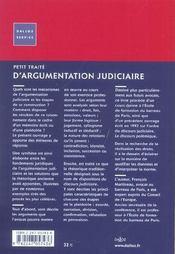 Petit Traite D'Argumentation Judiciaire - 4ème de couverture - Format classique