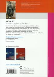Latin ; 2nde ; livre de l'élève (édition 2008) - 4ème de couverture - Format classique