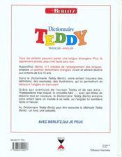 Dictionnaire Teddy Francais Anglais - 4ème de couverture - Format classique