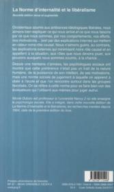 La norme d'internalité et le libéralisme (édition 2009) - 4ème de couverture - Format classique