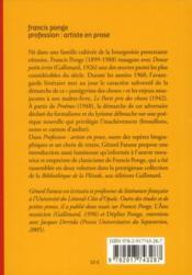 Francis Ponge, profession : artiste en prose - 4ème de couverture - Format classique