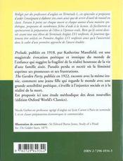 Prelude The Garden Party By Katherine Mansfield - 4ème de couverture - Format classique