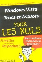 Windows Vista trucs et astuces pour les nuls - Intérieur - Format classique