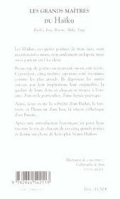 Les grands maitres du haiku - 4ème de couverture - Format classique