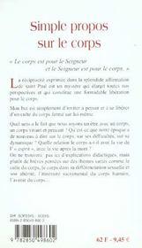 Simple Propos Sur Le Corps - 4ème de couverture - Format classique