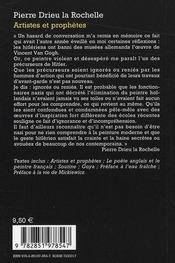 Artistes et prophètes - 4ème de couverture - Format classique
