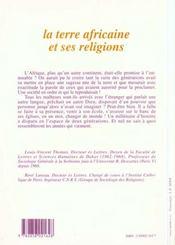 Terre Africaine Et Ses Religions - 4ème de couverture - Format classique