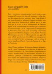 Francis Ponge, vies parallèles - 4ème de couverture - Format classique