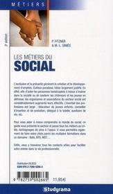 Les métiers du social - 4ème de couverture - Format classique