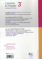 L'atelier du langage ; grammaire ; 3ème ; livre de l'élève (édition 2008) - 4ème de couverture - Format classique