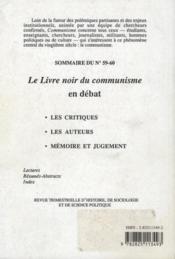 Revue Communisme N.59/60 ; Le Livre Noir Du Communisme En Débat - 4ème de couverture - Format classique
