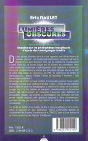 Lumieres obscures - 4ème de couverture - Format classique