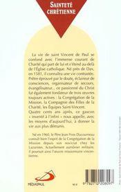 Vincent de paul ; l'amour a l'infini - 4ème de couverture - Format classique