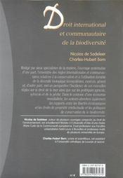 Droit international et communautaire de la biodiversité - 4ème de couverture - Format classique