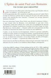 L'epitre de saint paul aux romains - 4ème de couverture - Format classique