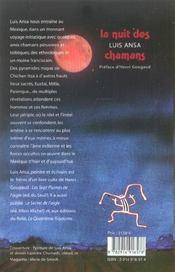La nuit des chamans - 4ème de couverture - Format classique