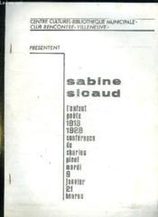 Sabine Sicaud: L Enfant Poete 1913 - 1928 Conference De Charles Picot Mardi 9 Janvier 21 Heures. - Couverture - Format classique
