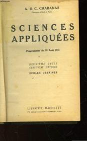 Sciences Appliquees - 2° Cycle Certificat D'Etudes - Ecoles Urbaines - Couverture - Format classique