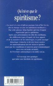 Qu'est-ce-que le spiritisme ? - 4ème de couverture - Format classique