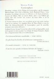 Gormenghast t2 - 4ème de couverture - Format classique