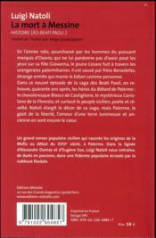 Histoire des Beati Paoli t.2 ; la mort à Messine - 4ème de couverture - Format classique