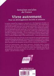 Vivre autrement ; pour un développement durable et solidaire - 4ème de couverture - Format classique