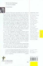 Michel de certeau, le marcheur blessé - 4ème de couverture - Format classique
