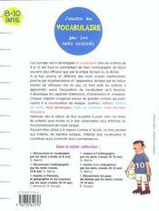 Jouons au vocabulaire par les mots croisés ; 8/10 ans - 4ème de couverture - Format classique