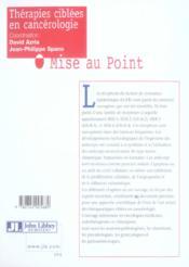 Therapies Ciblees En Cancerologie - 4ème de couverture - Format classique