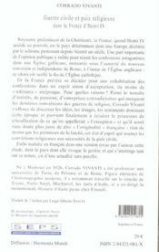 Guerre Civile Et Paix Religieuse Dans France D'Henri Iv - 4ème de couverture - Format classique