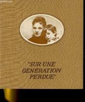 Sur Une Generation Perdue - Couverture - Format classique