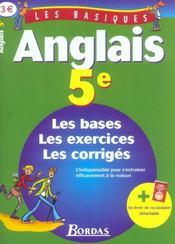 LES BASIQUES BORDAS ; anglais ; 5eme ; les bases, les exercices et les corriges - Intérieur - Format classique