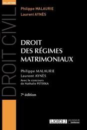 Droit des régimes matrimoniaux (7e édition) - Couverture - Format classique