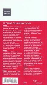 Le Guide Des Infractions ; Crimes. Delits. Contraventions. Poursuites Penales. Droits Des Victimes - 4ème de couverture - Format classique
