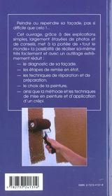 Peindre ou repeindre sa façade. diagnostic, réparation, peinture, crépi - 4ème de couverture - Format classique