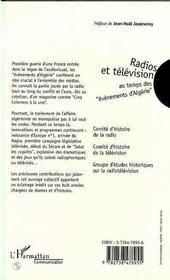 Radios et télévision au temps des évènements d'Algérie, 1954-1962 - 4ème de couverture - Format classique