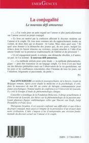La Conjugalite ; Le Nouveau Defi Amoureux - 4ème de couverture - Format classique