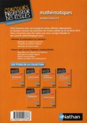 Mathématiques ; admissibilité ; CRPE session 2012 - 4ème de couverture - Format classique