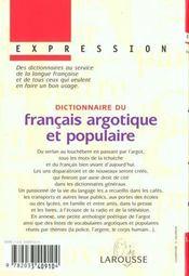 Dictionnaire Du Francais Argotique Et Populaire - 4ème de couverture - Format classique