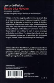 Les quatre saisons t.3 ; Electre à la Havane - 4ème de couverture - Format classique