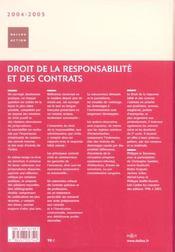 Droit De La Responsabilite Et Des Contrats 2004-2005 - 4ème de couverture - Format classique