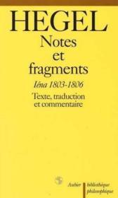 Notes et fragments - iena 1803-1806 - Couverture - Format classique