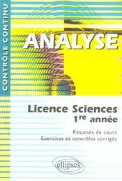 Controle Continu ; Analyse ; Licence Sciences 1ère Année - Intérieur - Format classique