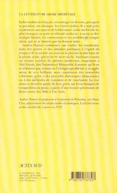 La Litterature Arabe Du Moyen Age - 4ème de couverture - Format classique