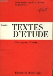 TEXTES D'ETUDE - COURS MOYEN (2ème année) - Couverture - Format classique