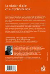 La relation d'aide et la psychothérapie - 4ème de couverture - Format classique