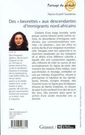 Des beurettes aux descendantes d'immigrees nord-africains - 4ème de couverture - Format classique