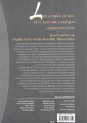 Les conflits de lois et le systeme juridique communautaire (1re édition) - 4ème de couverture - Format classique