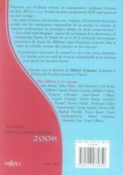Droit constitutionnel ; méthodologie et sujets corrigés (édition 2008) - 4ème de couverture - Format classique